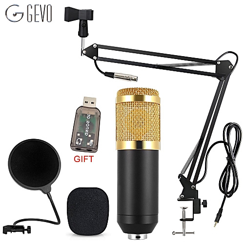 GEVO BM 800 Computer Microphone For Karaoke Pc Wired Studio Condenser Mic With Tripod Stand And NB-35 Suspension Arm Pop Filter