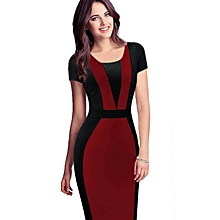 ef807b61dab69a Slim-Fit Short-Sleeved Bodycon Office Dress