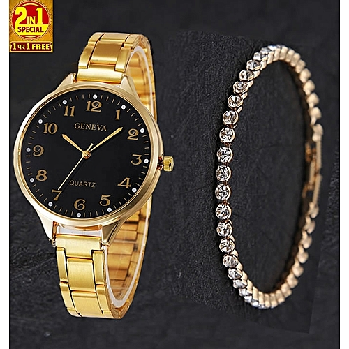 Geneva 2 In 1 Trendy Female Watch With Studded Bracelet- Gold