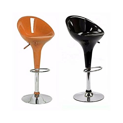 Multi Home Set Of 2 Adjustable Plastic Swivel Bar Stool - Black & Orange