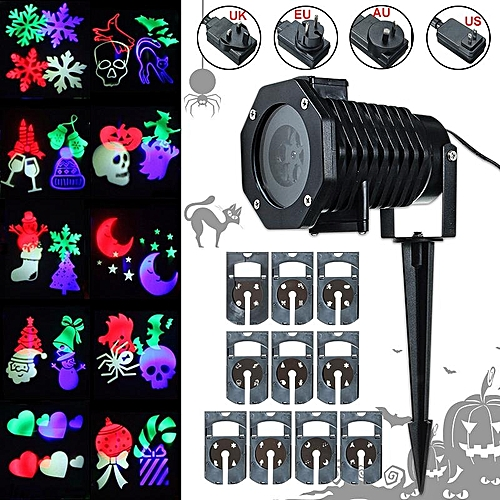 US Plug 10 Pattern Laser Projector Light Halloween Christmas Outdoor Garden Landscape US Plug