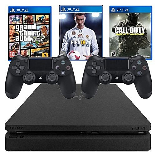 PS4 Slim 500GB Console + GTA 5 CDs Game +Fifa18 + CALL Of DUTY CDs + Extra Pad
