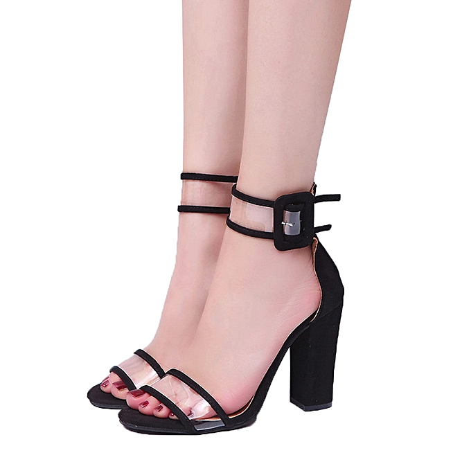 a185e38db Jiahsyc Store Womens Ladies Block High Heel Sandals Ankle Platforms Shoes  Buckle High Heels-Black