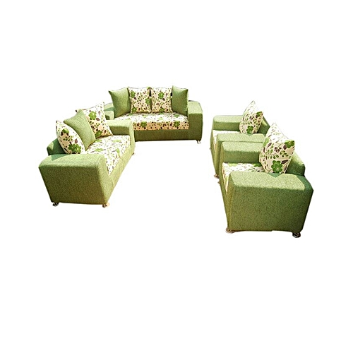 Green And Cream Flowered 7 Seater Sofa. 'ORDER NOW AND GET A FREE OTTOMAN' (Delivery To Only Lagos Costomers).