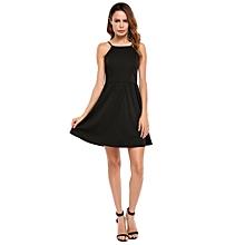 9cc85eb28e24 Women Spaghetti Strap Backless Solid Fit And Flare Mini Casual Dress (  Black )
