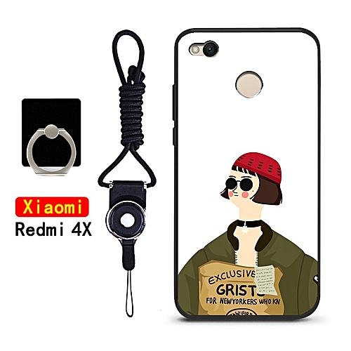 Phone Case For Xiaomi Redmi 4X Silicone Soft Cell Phone Back Cover With String & Ring