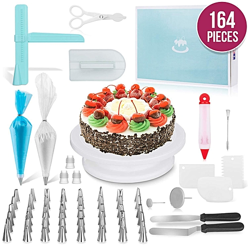 164 Pcs/set Cake Turntable Piping Tip Nozzle Pastry Bag Set