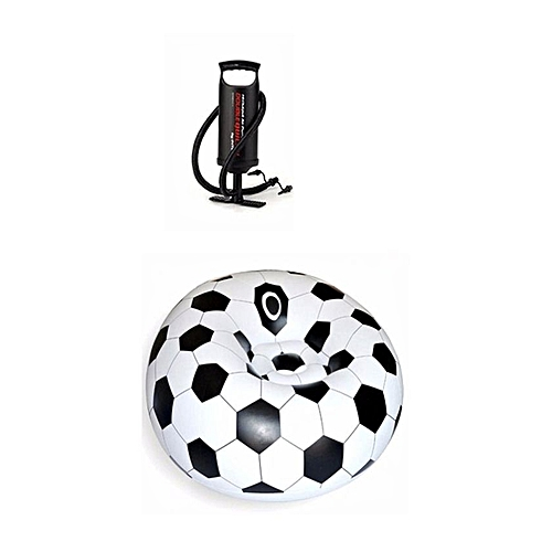 Soccer Ball Air Inflatable Chair + Pump - Black And White