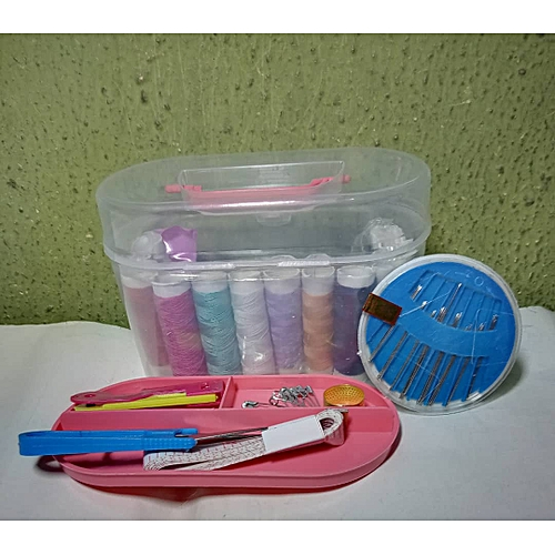 8 Assorted Colour Sewing Rope + 10 Pieces Hand Sewing Niddle + 1 Measurement Tape + Small Scissors + 10 Handing Pins In A White Plastic Container -