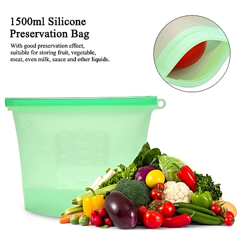 Sweetbaby 1500ml Reusable Seal Silicone Food Storage Container Fridge Fruit Meat Milk Preservation Bag