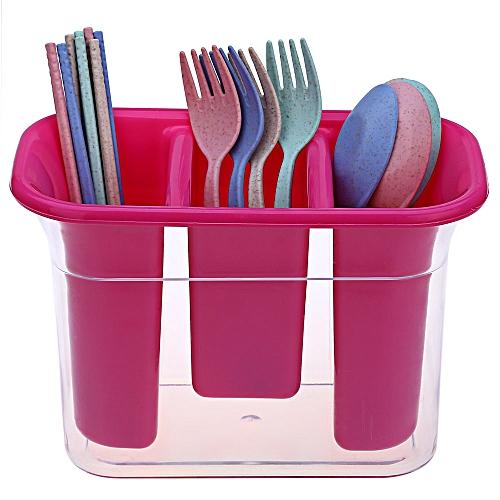 Home Tableware Save Space Kitchen Chopsticks Cage Box - Rose Madder