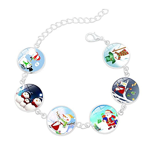 Glow In The Dark Christmas Santa Claus Snowman Glass Charm Bracelet Handmade DIY Bracelets For Women Luminous Jewelry Xmas Gift