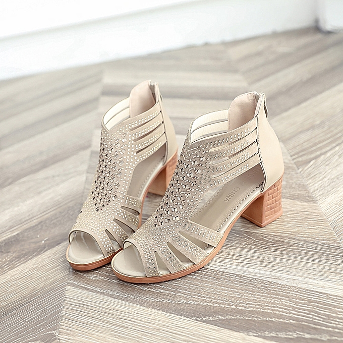 0a4a11eabecf94 ... Bliccol High Heel Shoes Women Fashion Crystal Hollow Out Peep Toe  Wedges Sandals High Heeled Shoes