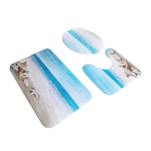 3 Pcs/Set Flannel Bath Mats 3D Printing Anti Slippery Bathroom Rug Sets