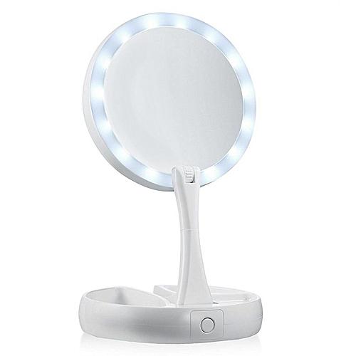 Portable Round Shape Foldable LED Makeup Mirror Women Facial Makeup Mirror White