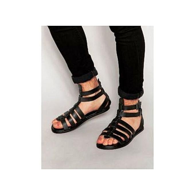2bf52e6af87 Fashion Men s Leather Gladiator Sandal- Black