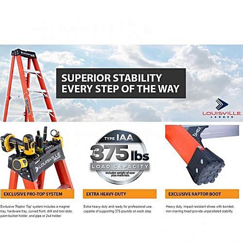 8 Feet Fiberglass A-Frame Step Ladder