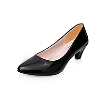 4e5b156f4b9 OL Square Heels Women Pumps Fashion Med Heels Career Office Lady Shoes  (Black)