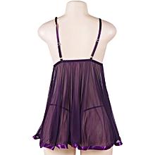 da1c51de4b2 Plus Size Sexy Sleep Wear For Women Deep V Lingerie Translucent Lace Dress  Color Purple