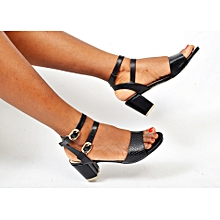 5dd18bb91 Ladies Double Strap Shoes Moderate Block Heel Sandal-Black