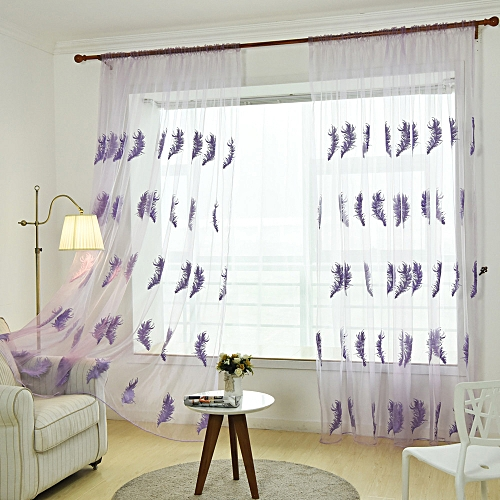Elegant Door Window Curtain Drape Panel Polyester Feather Geometric Glass Pat