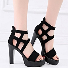 a96950613b 2019 Platform Shoes Women Black High Heels Party Pumps Ladies Summer Sexy Open  Toe Block Heel