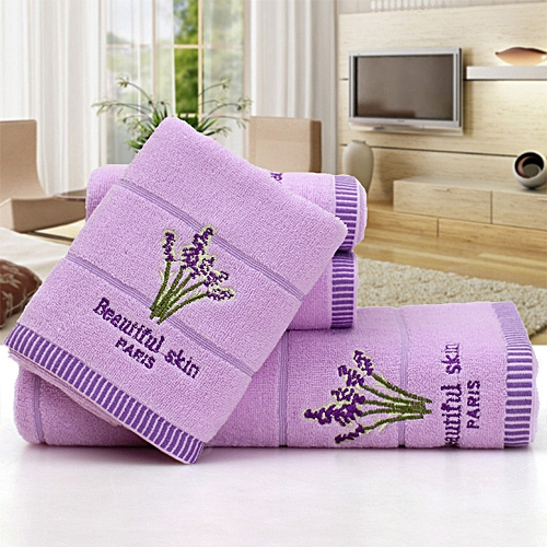 Cotton Embroidery Lavender Aromatherapy Soft Bath Hand Face Towel Sheet Set