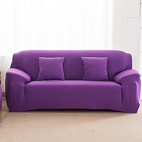 Arm Chair 3 Seater Stretch Sofa Couch Lounge Protect Slip Cover Slipcover Purple (Intl)