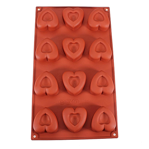 12 Cube Heart Shape Silicone Chocolate Pastry Cake Mold Soup Mould