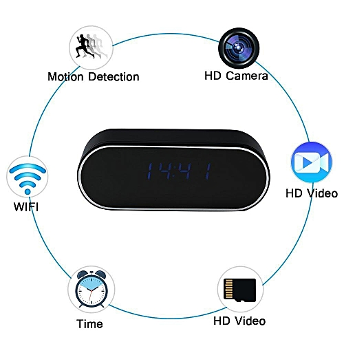 1080P Covert Hidden Clock Camera Cam Black Video Recording Mini Bug Device