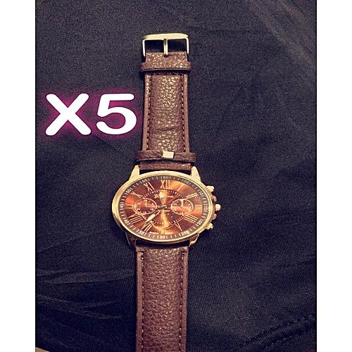 Geneva 5  In 1 Unique Unisex Casual Leather Wristwatch -Brown