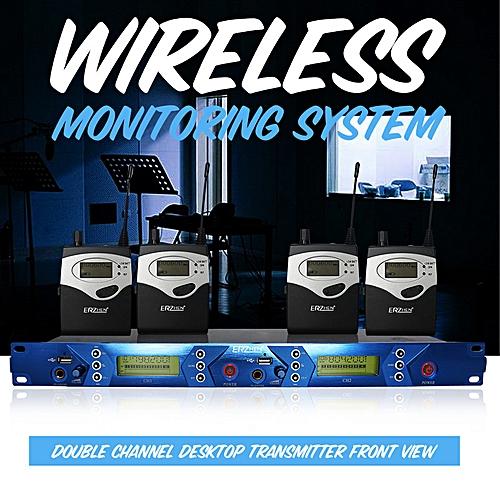 ERZHEN In Ear UHF 798-830MHz Wireless Stage Monitor System Receiver Transmitter Black
