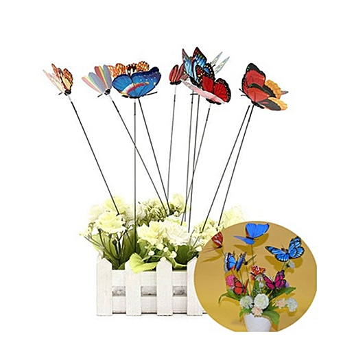 10pcs Butterfly Shaped On Stick Garden Vase Lawn Craft Art Plant Decoration