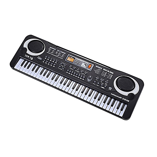 61 Keys Electronic Piano Keyboard With Microphone Children Musical Instrument Black & White