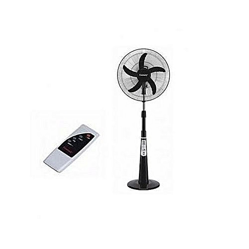 "16"" Rechargeable Fan With Remote + USB Port + Solar 5Blades"