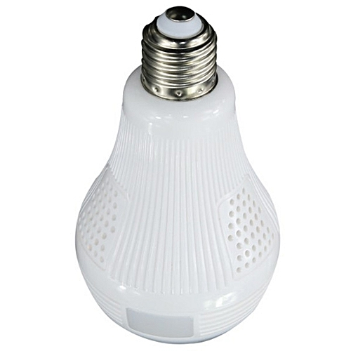 360-degree Panoramic View Wi-Fi IP Bulb Security Camera With Fisheye Lens - Milk White
