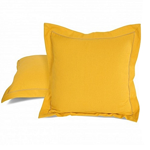 Set Of 2 Soft Throw Pillow - Yellow