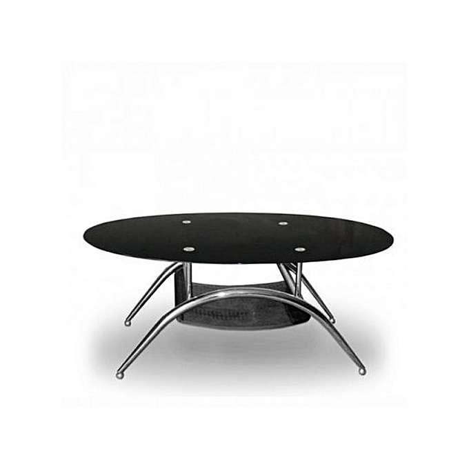 Generic Tempered Glass Oval Center Table-Black | Jumia.com.ng