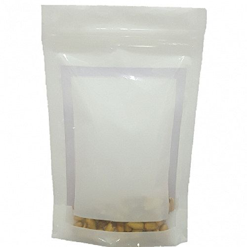 50pcs White Resealable Stand-Up Ziplock Food Pouch, Clear Frame