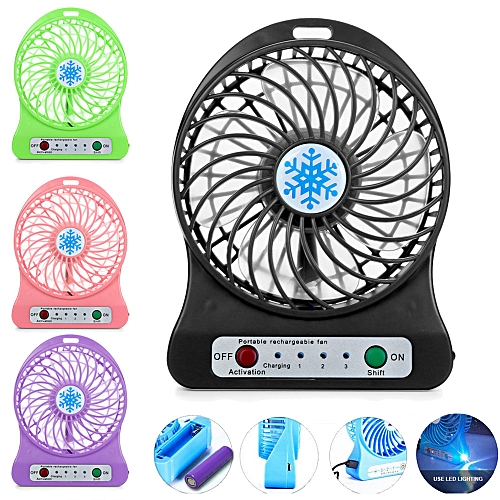 LED Light Fan Air Cooler Mini Desk USB 18650 Battery Fan