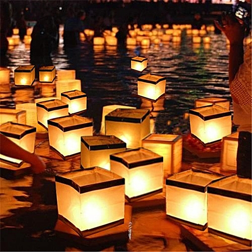 Water Floating Candle Holder Waterproof Square Candle Holder Lantern Wishing Light Candle Stick L