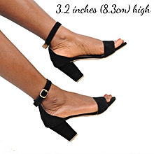 22933bbfb7e Ladies Ankle Strap Shoes Moderate Block Heel Sandal-Black