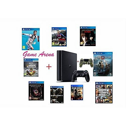 Playstation 4 Console - 500gb + Extra Pad + Fifa19 + Pes 19 In CDs + Rock Band 4 In CDs + Mortal Combact XL In CDs + Gta5 + New God Of War + Resident Evil2 + Hustle King + Evil Within + Last Of Us + Wiedza To Potiga CDs (12 Larest Games In Total)