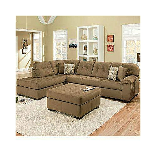 PAWA FURNITURE 5 Seater L Shape Fabric Sofa (LIGHT BROWN) + Free Big Ottoman (Delivery To Lagos Only)