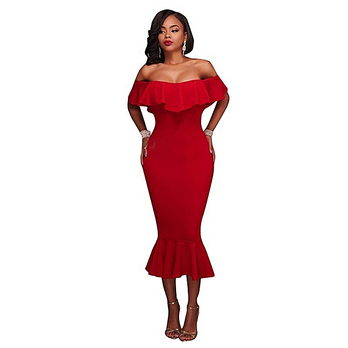 c9bdb8e38025 Biloxa Off Shoulder Bodycon Dress With Fish Cut Hem Detail - Red ...