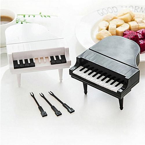 9 Pcs Piano Design Plastic Fruit Forks - Black & White