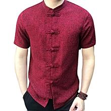 7a6d55d6a46a Vintage Mens Stand Collar Short Sleeve Shirt - Wine Red