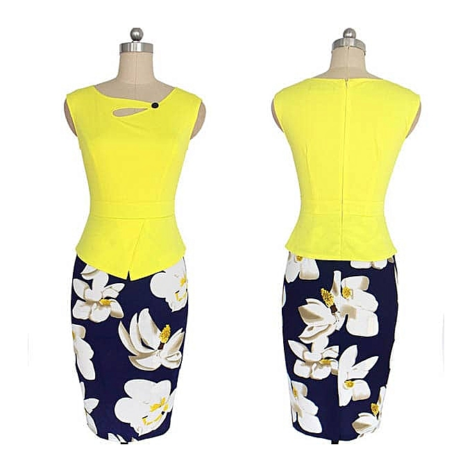 0339c05145c9cb Biloxa Sleeveless Plain   Bold Floral Ladies Office Dress - Yellow ...