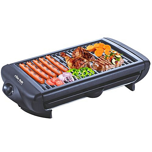 Health Grill With Non Stick Plates + Glass Lid