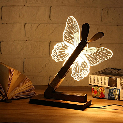 US Plug Christmas 3D Owl LED Desk Table Lamp Adjustable Night Light Home Decor Xmas Gift Butterfly